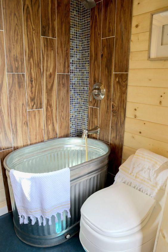tiny home bucket shower