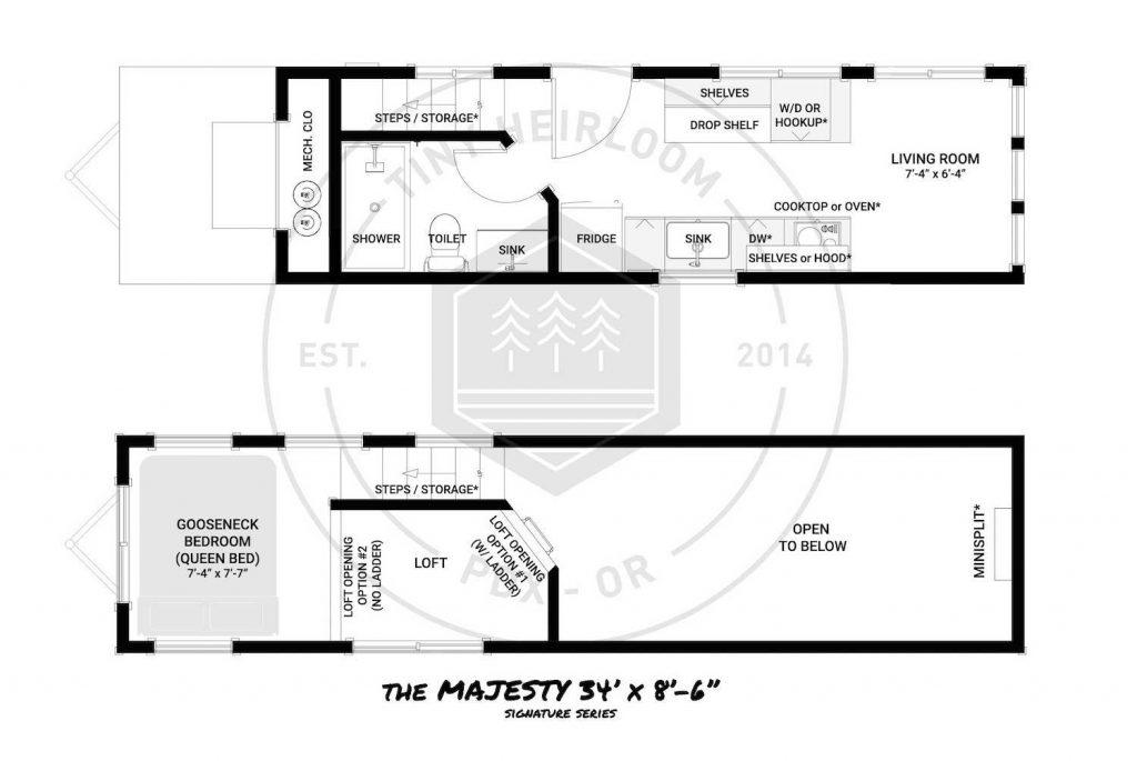 2 Bedroom Tiny House Floor Plans Majesty